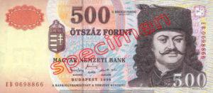 Billet 500 Forint Hongrie HUF 1998 recto