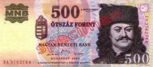 Billet 500 Forint Hongrie HUF 2001 recto