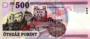 Billet 500 Forint Hongrie HUF 2001 verso