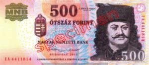 Billet 500 Forint Hongrie HUF 2009 recto