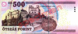 Billet 500 Forint Hongrie HUF 2009 verso