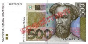 Billet 500 Kuna Croatie HRK recto