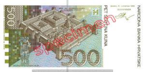 Billet 500 Kuna Croatie HRK verso