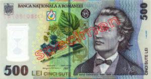 Billet 500 Lei Roumanie RON recto