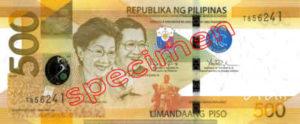 Billet 500 Peso Philippines PHP recto