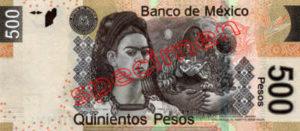 Billet 500 Pesos Mexique MXN Type I verso