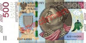 Billet 500 Zloty Pologne PLN Type I recto