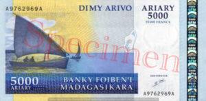 Billet 5000 Ariary Madagascar MGA 2003 recto