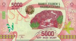 Billet 5000 Ariary Madagascar MGA 2017 recto