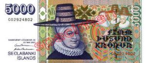 Billet 5000 Couronnes Islande ISK