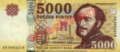 Billet 5000 Forint Hongrie HUF 2016 recto