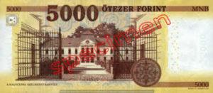 Billet 5000 Forint Hongrie HUF 2016 verso