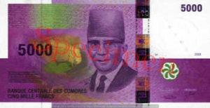 Billet 5000 Francs Comores KMF recto