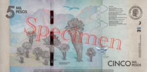 Billet 5000 Pesos Colombie COP 2015 verso