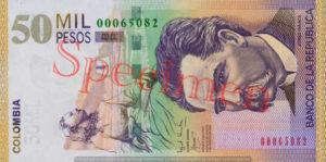 Billet 50000 Pesos Colombie COP 2000 recto