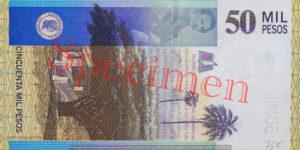 Billet 50000 Pesos Colombie COP 2000 verso