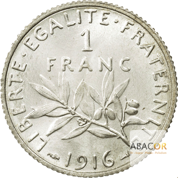 Pièce de 1 Franc Semeuse en Argent Revers