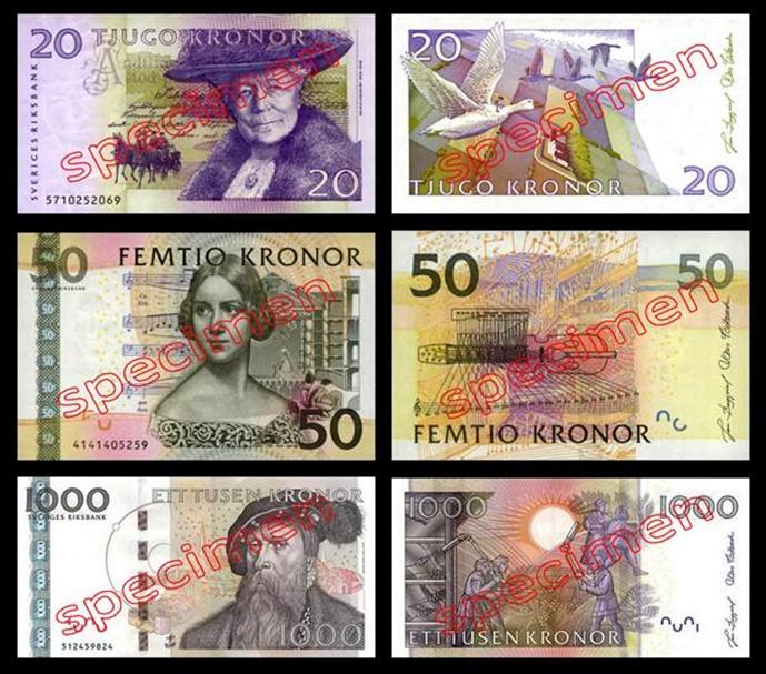 20 50 1000 Couronnes Suédoises