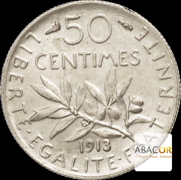 Pièce de 50 Centimes en Argent Revers
