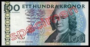 100 Couronnes Suédoises 2001