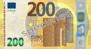 Billet 200 Euros Série Europe 2019