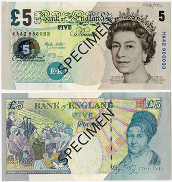 5 Livres Sterling Serie E 2002