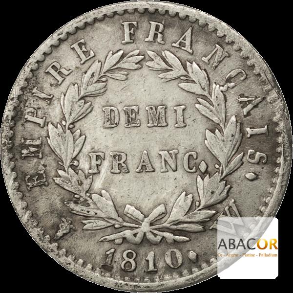 Demi Franc Argent Napoléon Ier Tête Laurée Revers Empire
