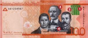 Billet 100 Pesos Dominicains DOP 2017 recto