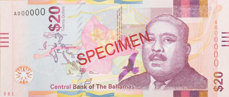 Billet 20 Dollar Bahamas BSD 2018 recto
