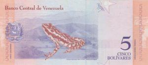 Billet 5 Bolivar Venezuelien VES 2018 v