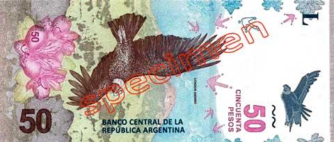Billet 50 Pesos Argentine ARS 2018 verso