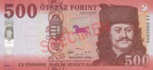 Billet 500 Forint Hongrie HUF 2018 recto