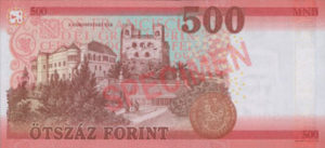 Billet 500 Forint Hongrie HUF 2018 verso