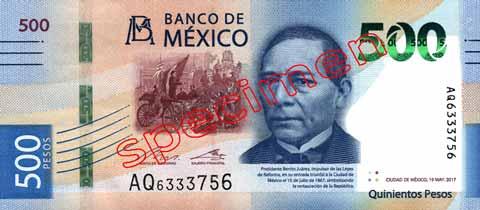 Billet 500 Pesos Mexique MXN 2018 recto
