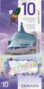 Billet 10 Dollars Canada CAD 2018 verso
