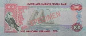 Billet 100 Dirhams Emirats Arabes Unis Commemoratif 2018 AED verso