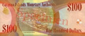 Billet 100 Dollar Iles Caïmans KYD 2010 verso