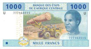 Billet 1000 Francs CFA Afrique Centrale XAF recto