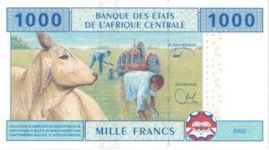 Billet 1000 Francs CFA Afrique Centrale XAF verso