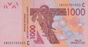 Billet 1000 Francs CFA Afrique Ouest XOF 2018 recto