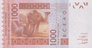 Billet 1000 Francs CFA Afrique Ouest XOF 2018 verso