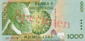 Billet 1000 Leke Albanie ALL recto