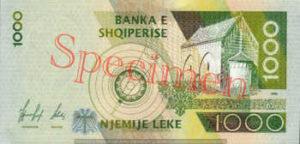 Billet 1000 Leke Albanie ALL verso