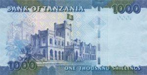 Billet 1000 Shillings Tanzanie TZS verso