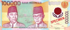 Billet 100000 Roupie Indonesie IDR 1993-1998