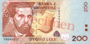 Billet 200 Leke Albanie ALL recto