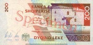 Billet 200 Leke Albanie ALL verso