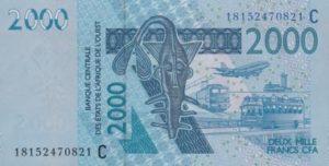 Billet 2000 Francs CFA Afrique Ouest XOF 2018 recto