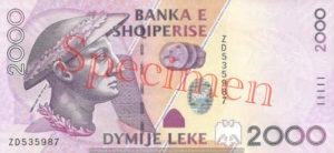 Billet 2000 Leke Albanie ALL recto