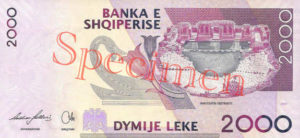Billet 2000 Leke Albanie ALL verso